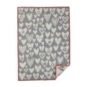 Klippan Yllefabrik Baby Heart Villaviltti Harmaa / Valkoinen 65x90 Cm