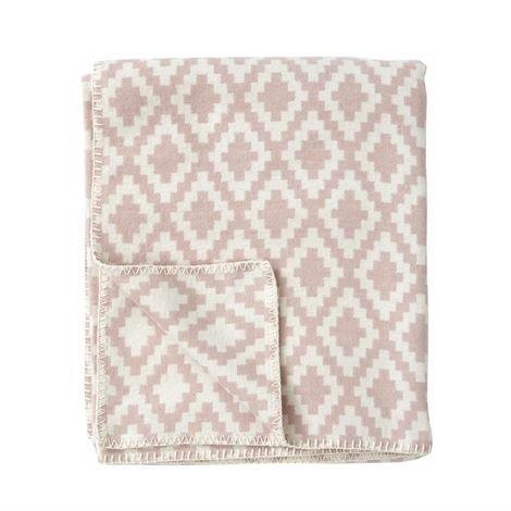 Klippan Yllefabrik Diamonds Puuvillahuopa Pale Pink Roosa