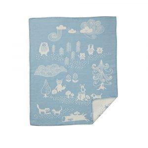 Klippan Yllefabrik Little Bear Puuvillaviltti Sininen / Valkoinen 70x90 Cm