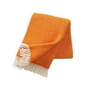Klippan Yllefabrik Polka Villahuopa Oranssi / Valkoinen 130x200 Cm