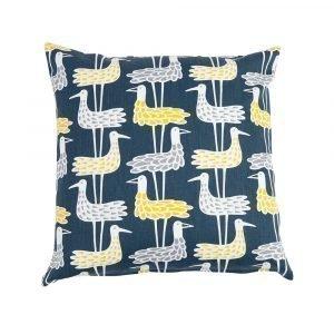 Klippan Yllefabrik Shore Birds Puuvillatyyny Sininen 45x45 Cm