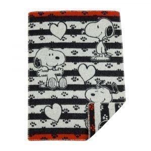 Klippan Yllefabrik Snoopy In Love Villahuopa Musta 65x90 Cm