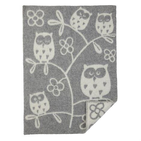 Klippan Yllefabrik Tree Owl Lastenhuopa Vaaleanharmaa