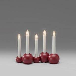 Konstsmide Puupallot Kynttelikkö 5 Kynttilälle Punainen