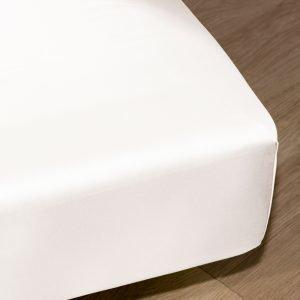 Koodi Muotoonommeltu Satiinialuslakana Valkoinen 90x200 Cm