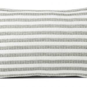 Koodi Stripe Trikootyynynpäälliset Valkoinen Harmaa 2 Kpl