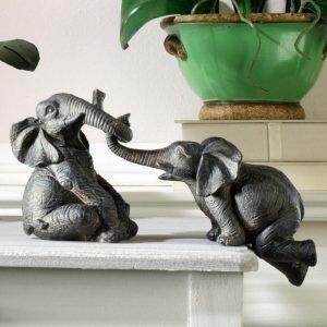 Koriste Esine Elefantit 2-Pakkaus Harmaa