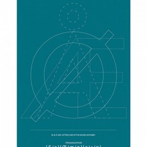 Kortkartellet Æ Ø Å Petrol Blue Inverse Juliste Sininen 50x70 Cm
