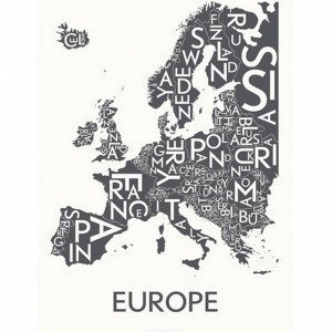 Kortkartellet Europé Juliste Harmaa 50x70 Cm