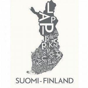 Kortkartellet Suomi Finland Juliste Harmaa 50x70 Cm