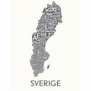 Kortkartellet Sverige Juliste Harmaa 50x70 Cm