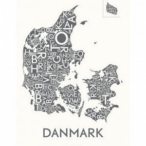 Kortkartellet Tanska Juliste Harmaa 50x70 Cm