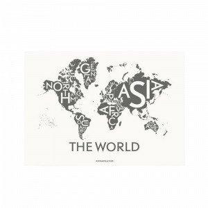 Kortkartellet The World Dark Grey Juliste Harmaa 50x70 Cm