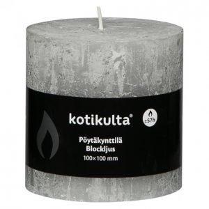 Kotikulta Rustic Pöytäkynttilä Vaaleanharmaa 100x100mm