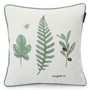 Lexington Green Leaf Tyynynpäällinen Valkoinen / Vihreä 50x50 Cm