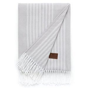Lexington Striped Cotton Huopa Harmaa 130x170 Cm