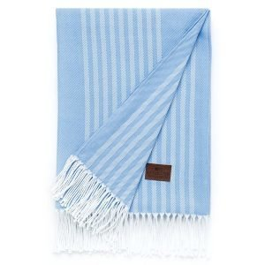 Lexington Striped Cotton Huopa Sininen 130x170 Cm