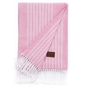Lexington Striped Cotton Huopa Vaaleanpunainen 130x170 Cm