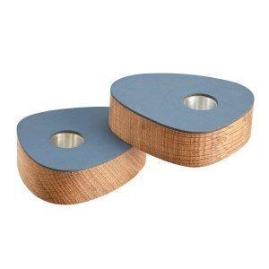 Lind Dna Curve Ljusstake Wood Oak / Nupo Dark Blue