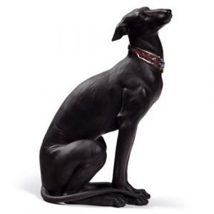 Lladro Attentive Greyhound Black