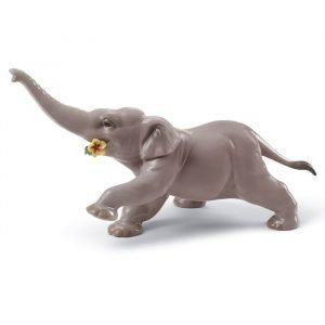 Lladro Baby Elephant With Yellow Flower