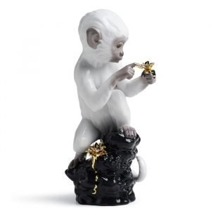 Lladro Curiosity Monkey On Black Rock