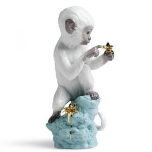 Lladro Curiosity Monkey On Turq. Rock