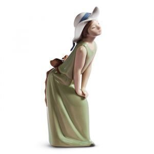 Lladro Curious Girl With Straw Hat