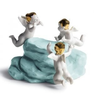 Lladro Earth Cherubs On Small Turq. Earth