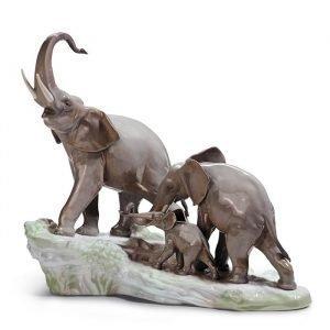 Lladro Elephants Walking