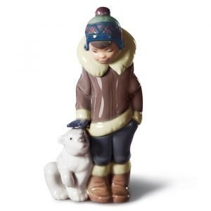 Lladro Eskimo Boy With Pet