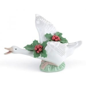 Lladro Flying Duck With Mistletoe