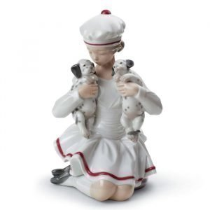 Lladro Girl With Dalmatians