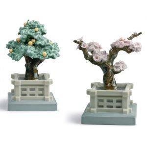 Lladro Japanese Tree Pots Mandarin And Cherry