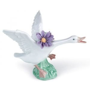 Lladro Jumping Duck With Purple Dahlias