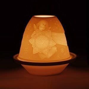 Lladro Lithophane Votive Light Angel With Star