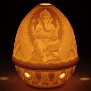 Lladro Lithophane Votive Light Lord Ganesha