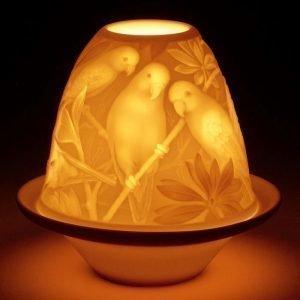 Lladro Lithophane Votive Light Parrots
