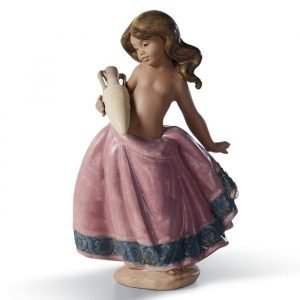 Lladro Little Peasant Girl Pink Gres