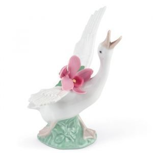 Lladro Running Duck With Pink Orchid