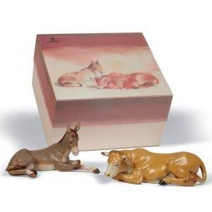 Lladro Set Animals At Bethlehem Gres