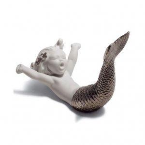 Lladro Waking Up At Sea Silver Re Deco