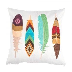 Lulu Carter Design Feather Fanatic Tyynynpäällinen Suuret Sulat Valkoinen