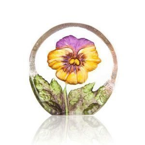 Målerås Glasbruk Floral Fanasy Miniatyr Orvokki Keltainen / Violetti