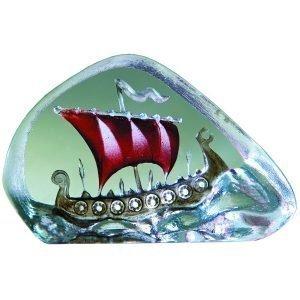 Målerås Glasbruk Miniatyyri Viikinkilaiva Punainen