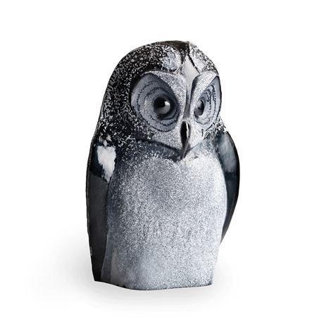 Målerås Glasbruk Safari Veistos Pöllö Musta
