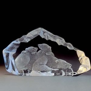 Målerås Glasbruk Wildlife Jääkarhu Ja Poikaset
