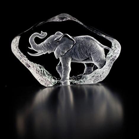 Målerås Glasbruk Wildlife Lasiminiatyyri Elefantti Lasi
