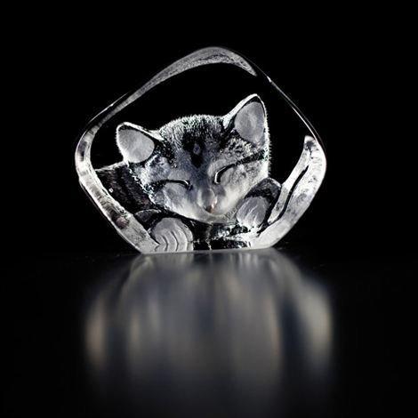 Målerås Glasbruk Wildlife Lasiminiatyyri Kissa Lasi