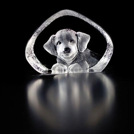 Målerås Glasbruk Wildlife Lasiminiatyyri Koiranpentu Lasi